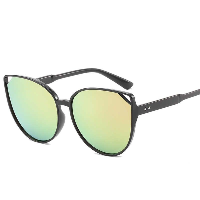 ... Vintage ojo de gato gafas de sol redondas de los hombres y las mujeres  mujer marca ... 0b5b04c80d39