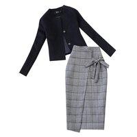 black with grey blazer women suit jackets two piece skirt suit two piece office lady skirt suits