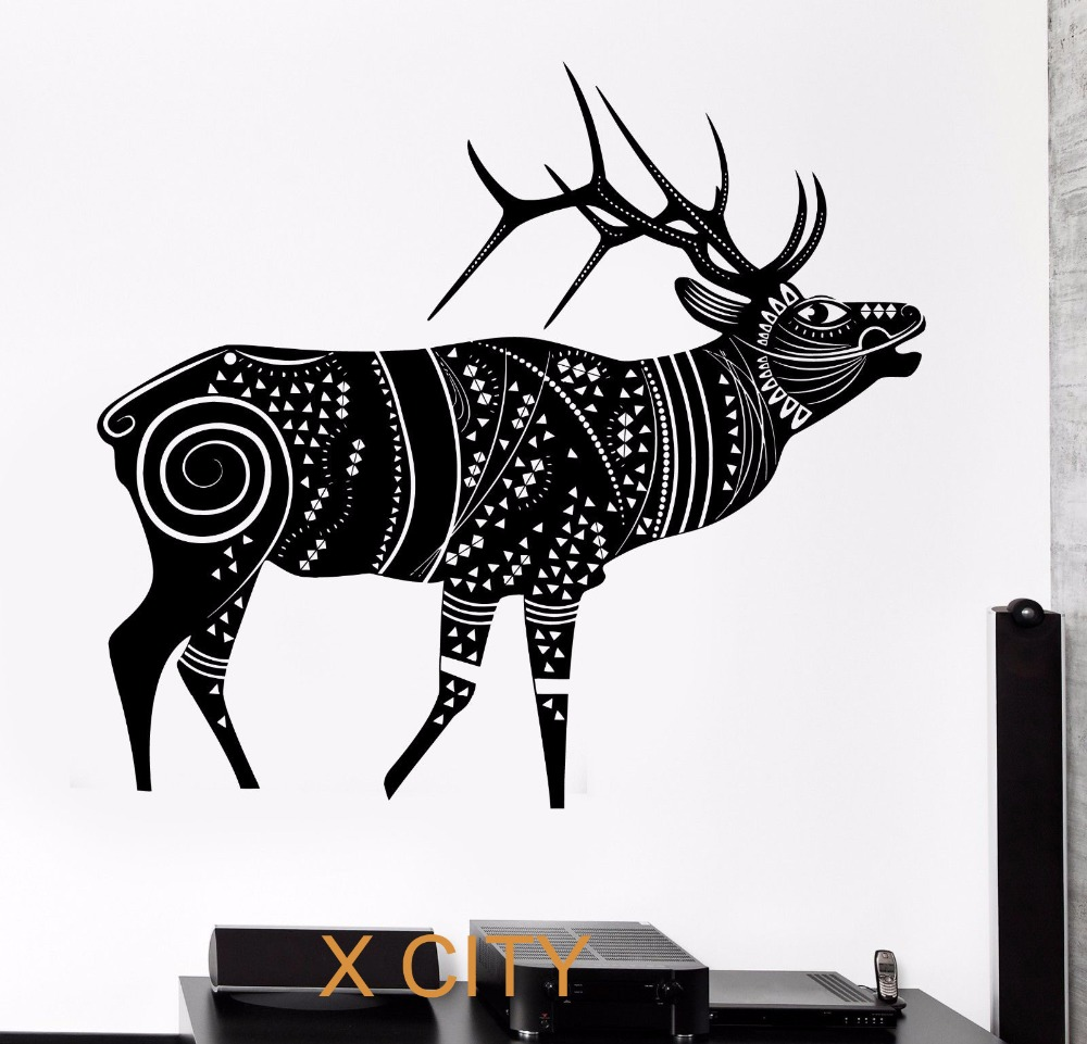 compare prices on winter wall murals online shopping buy low deer reindeer winter animal tribal ornament black wall art decal sticker removable vinyl transfer stencil mural