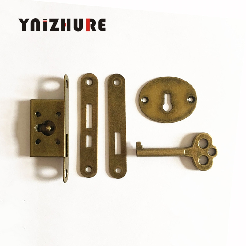 YNIZHURE 1PCS Classical lock Restore ancient ways small l Box lock Antique furniture counter Drawer Lock With key(China)