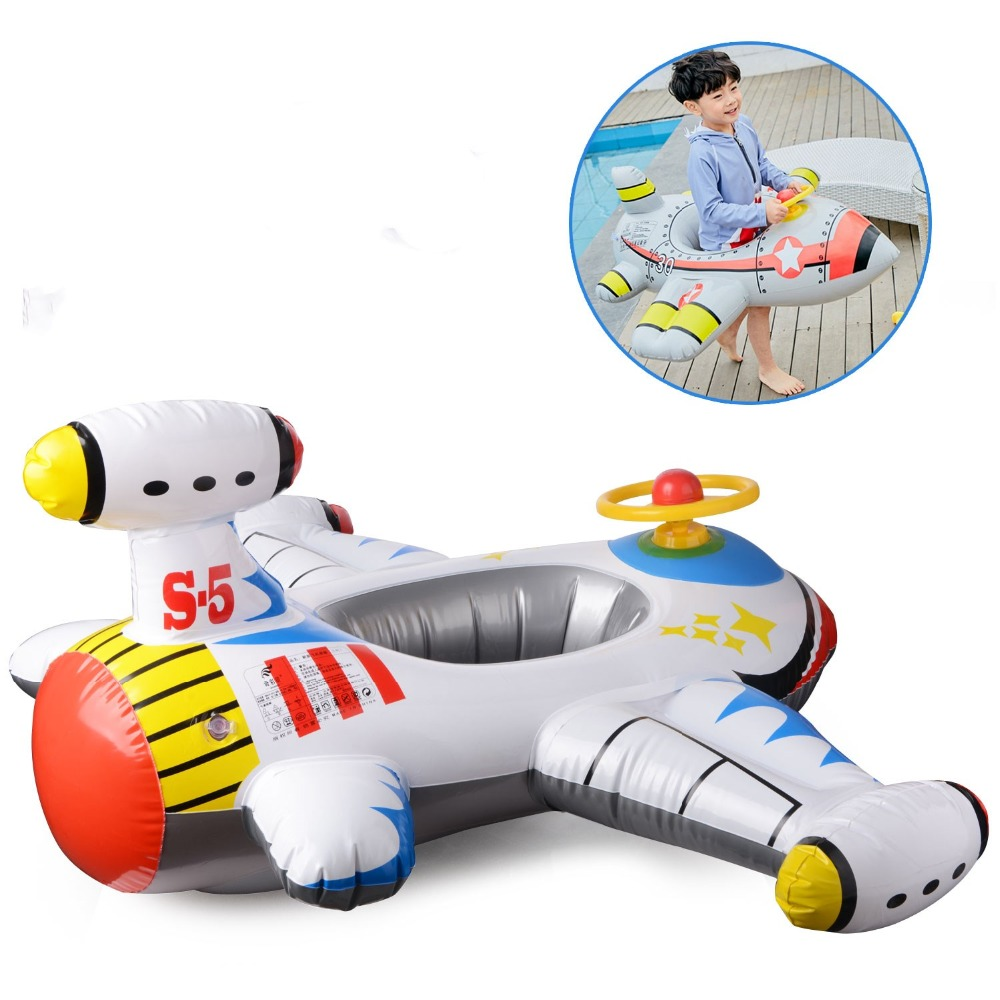 Kids Ride-on Giant Inflatable Plane Ride Inflatable Aircraft  Kids Swimming Pool Float Raft Pool Rafts Summer Water Sports Toy