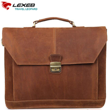 LEXEB Brand Lawyer Briefcase Vintage Crazy Horse Leather Men Laptop Bag 15 Inches High Quality Office Bags 42cm Length Brown