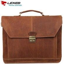 LEXEB márka Férfi Vintage Crazy Horse aktatáska valódi természetes bőr Business Bag Men 15 laptop magas minőségű táska 42 CM
