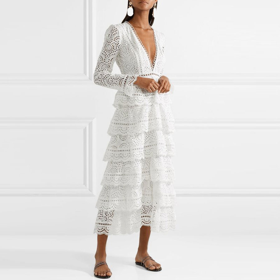 2018 New Arrival Autumn Women Fashion White Long Dress Deep V-neck Sleeve Long Ruffled Style Hollow Out Sexy Female Lace Dress