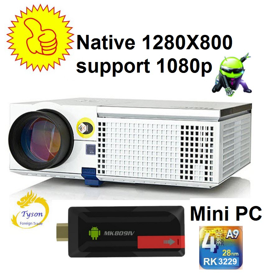 Newest Upgrade 3D HD Projector Native 1280*800 WIFI Mini PC Android TV With HDMI support 1920x1080 3D home theater projector Проектор