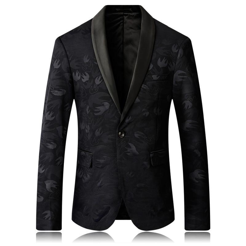 Costume hommes 2019 nouveau blazer mode luxe revers imprimer style européen et américain cocktail robe de soirée mâle grande taille costume veste