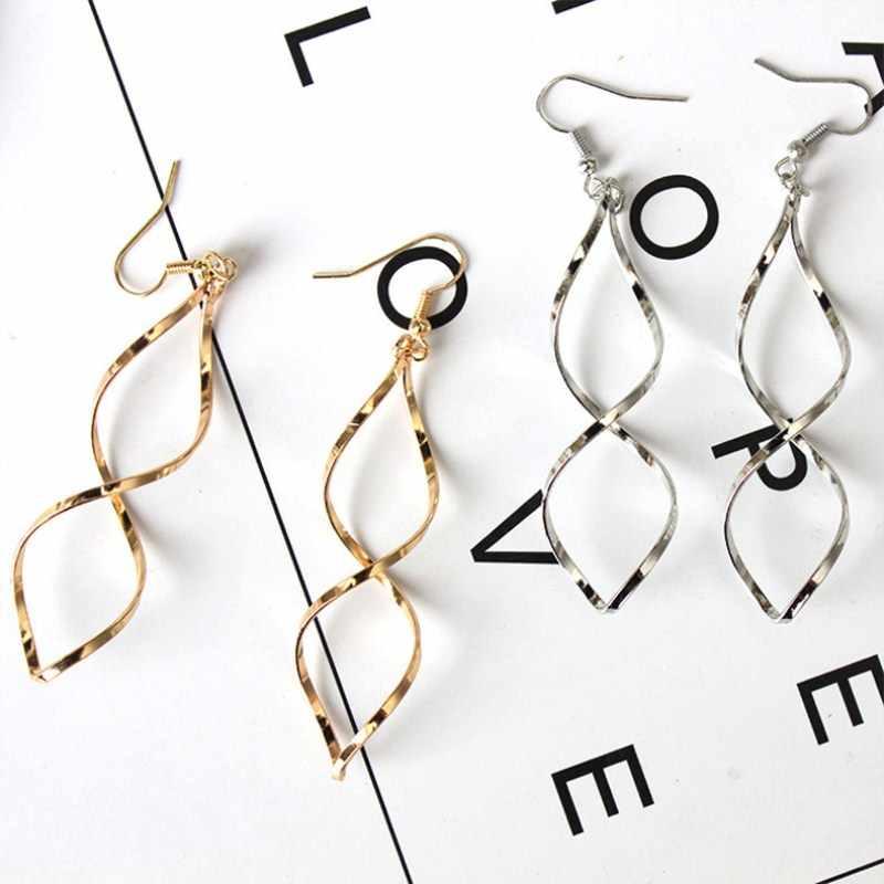 Nuevos pendientes largos curvos en espiral simples para mujer, diseño ondulado 2019, joyería de moda, venta al por mayor, pendientes para fiesta o boda