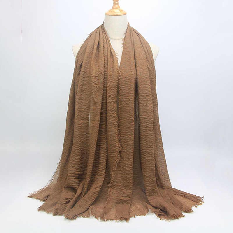 2019 для женщин пузырь хлопковые однотонные исламский, мусульманский головной платок платки и обертывания пашмины женский фуляр вискоза Макси морщинка облако хиджаб