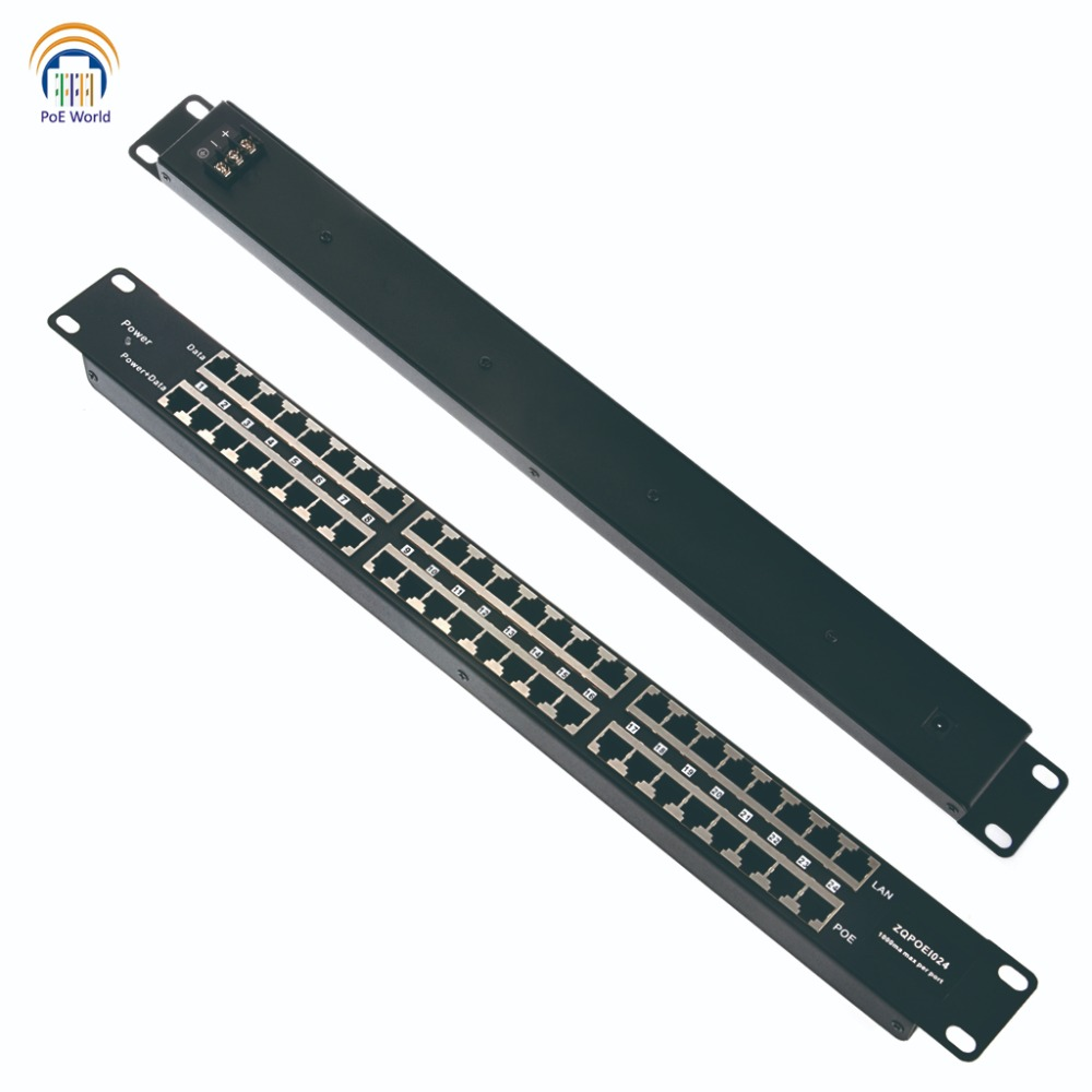 Passive PoE injector 24 Port Mid span POE Patch Panel Rack mount PoE Injector powered up