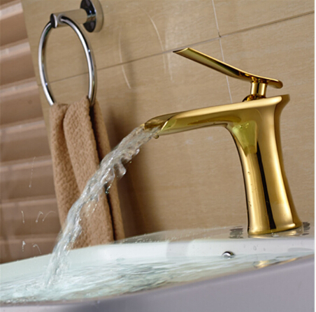 Free Shipping Contemporary Modern Open Spout Basin Faucet Gold Bathroom Vessel Sink Faucet Waterfall FaucetFree Shipping Contemporary Modern Open Spout Basin Faucet Gold Bathroom Vessel Sink Faucet Waterfall Faucet