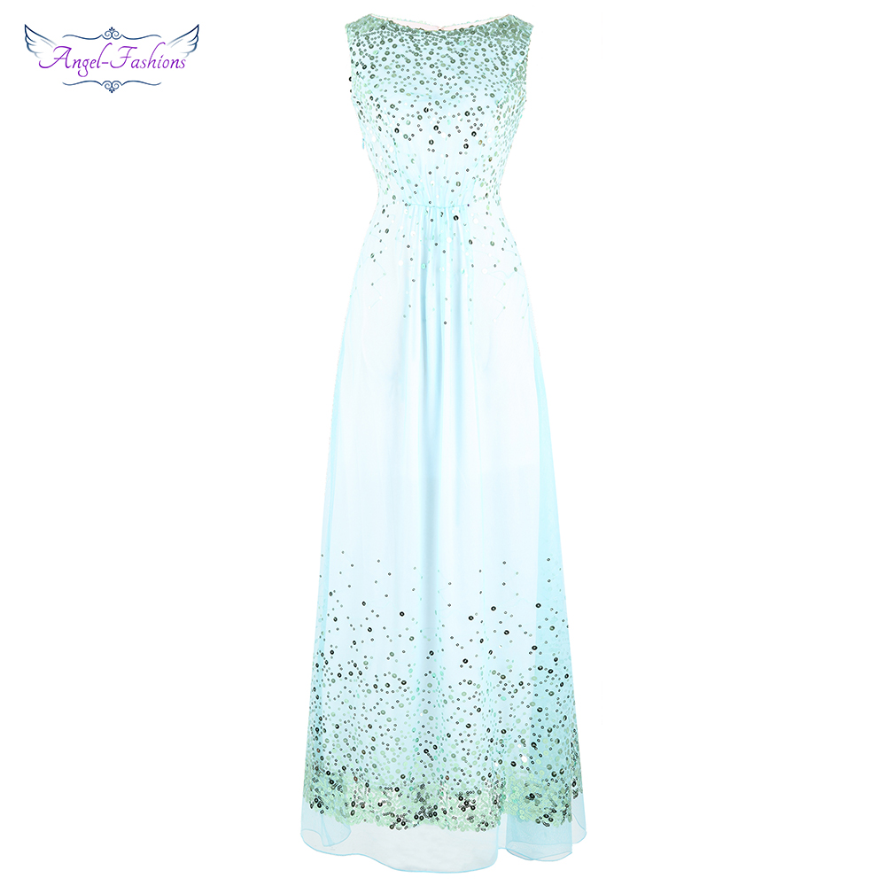 Angel-fashions Women's Sparkling Sequin   Prom     Dresses   Illusion A-Line Gown Sky Blue J-181222-S