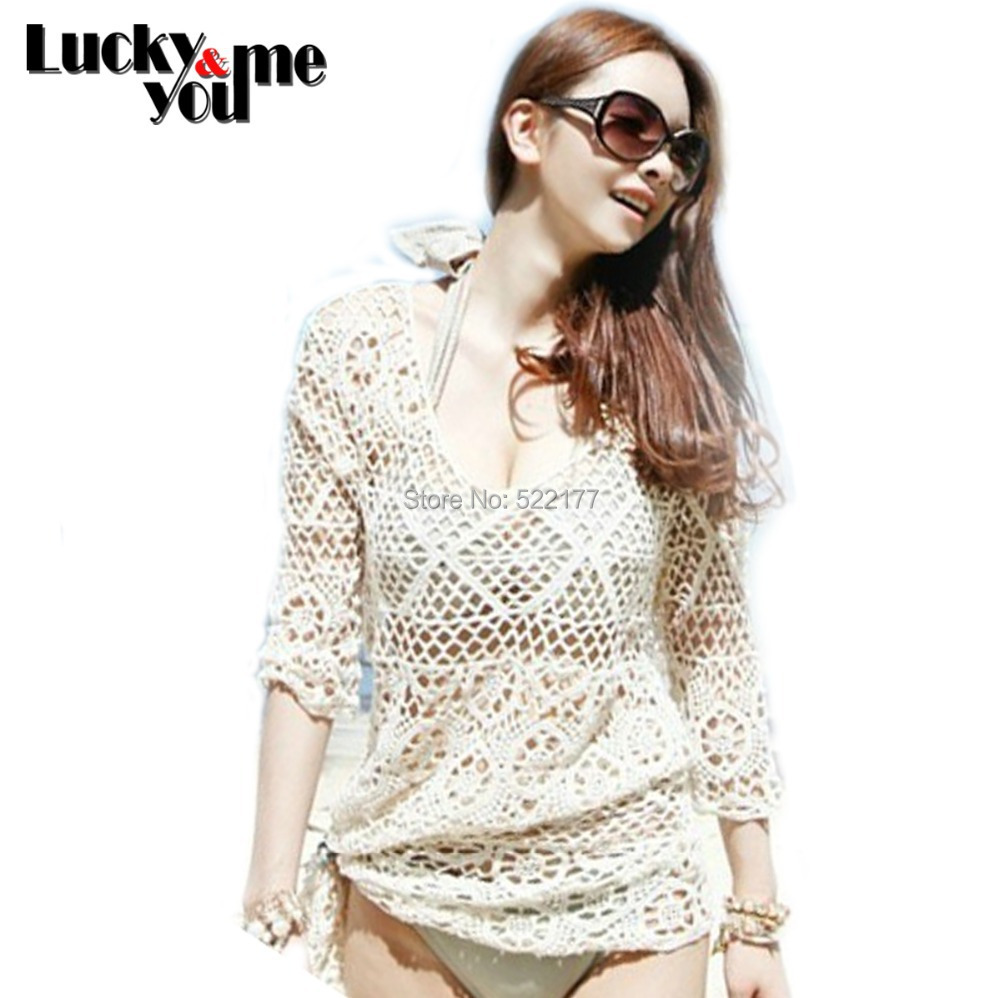 Woman Summer Sexy Beige Crochet Beach Bikini Cover Ups Hollow Out Beach Dresses Camisole Bra Pullover Tank Tops Vintage Swimwear