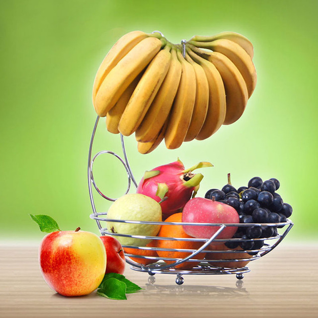 Kitchen Fruit Basket Fixtures Lowes Superior Metal Banana Rack Storage Table Dinning Decoration Fg