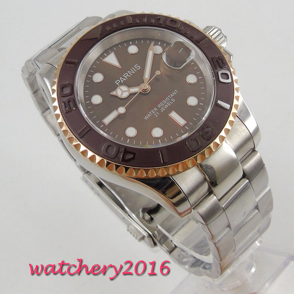 41mm parnis Brown dial Sapphire Crystal Luminous Hands Complete Calendar 21 jewels Miyota Automatic mechanical Mens Wristwatches41mm parnis Brown dial Sapphire Crystal Luminous Hands Complete Calendar 21 jewels Miyota Automatic mechanical Mens Wristwatches