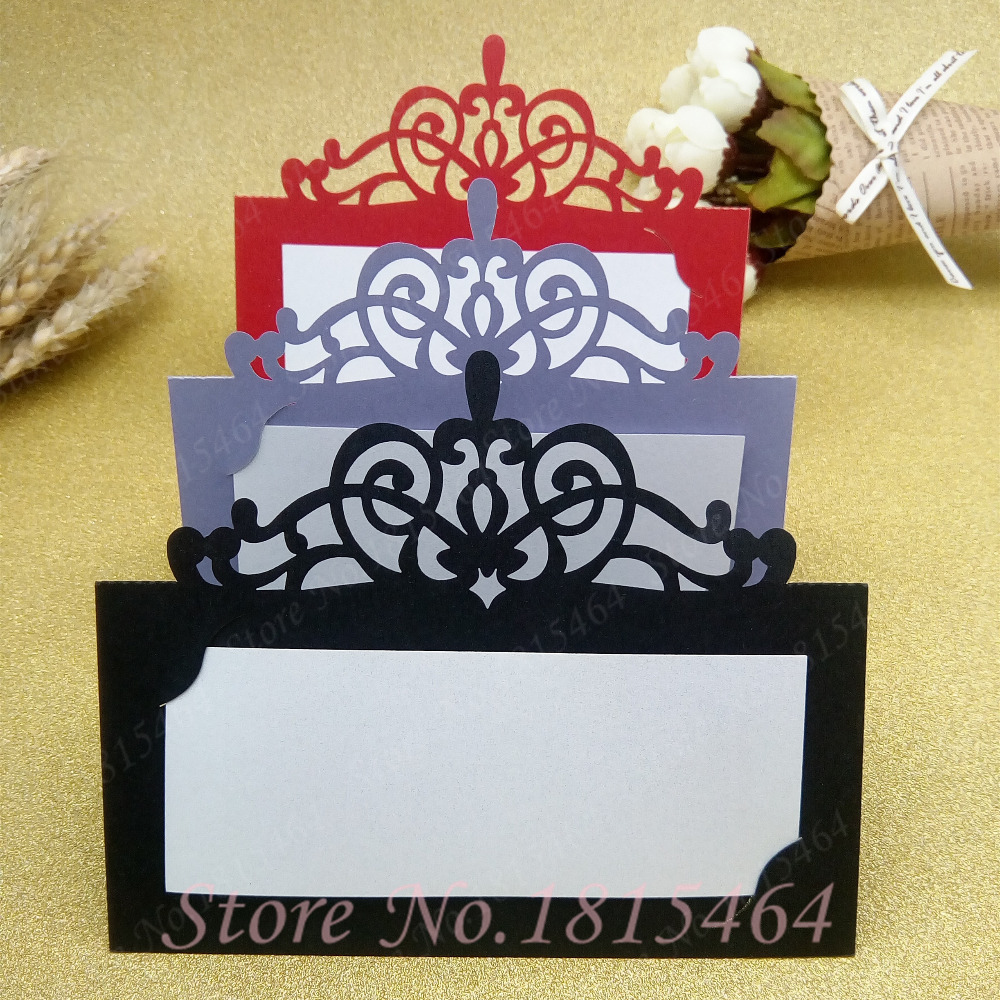 50pcs Laser Cut Lace Crown Paper Place Name Seat Card Wedding Birthday Party Invitation Table Decoration Free Shipping