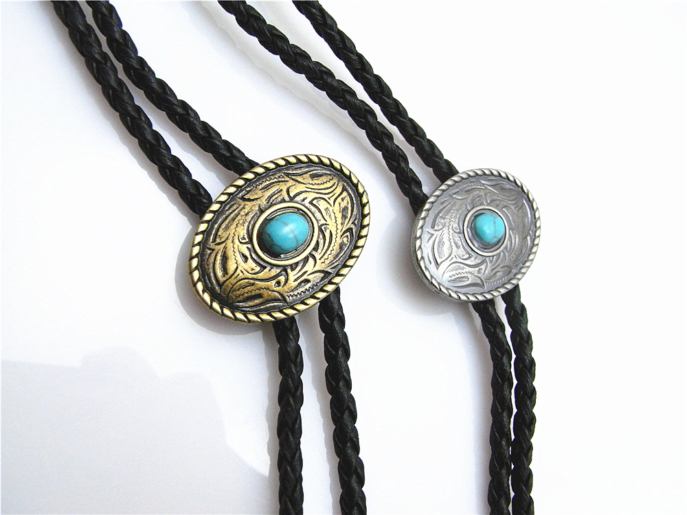 Bolo Tie New Retro Shirt Chain Blue Stone Elliptical Poirot Collar Leather Necklace Long Tie Pendant