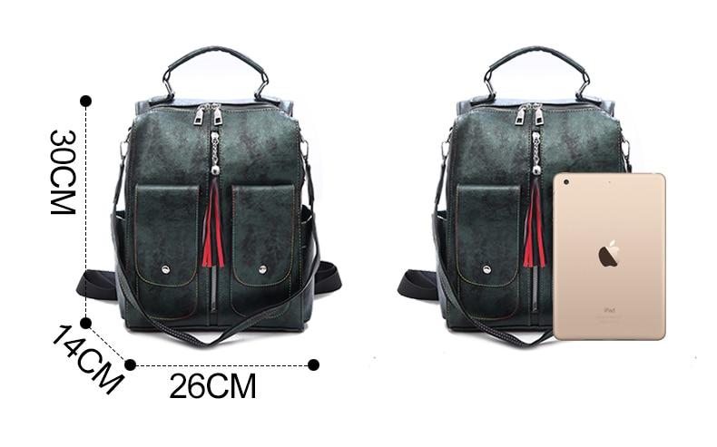 Retro Leather Women Backpack Zipper School Backpacks For Teenage Girls Bag Large Capacity Multifunction Mochila Feminina XA227H