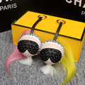Galeries lafayette modelling Karlito suspension  Bag Charm fur Pom Poms bag bug Luxury Car Keychains Free Shipping