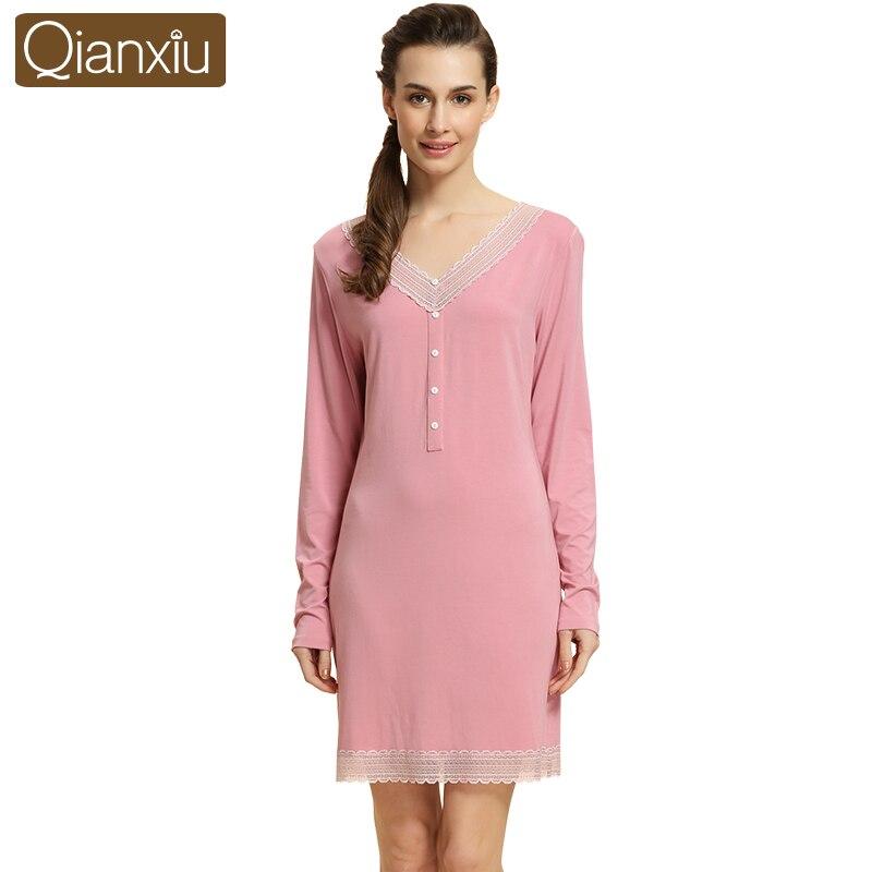 2017 Spring Autumn Qianxiu Brand dress Women soft nightgown modal nightdress  solid lace sleepshirts long sleeve sleepwear dress 936c9e04d