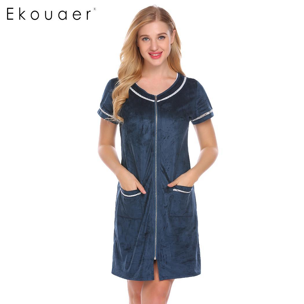 Ekouaer Nighties Sleepwear Women Short Zipper Robe O-Neck Short Sleeve Bathrobes Nightwear Bath Robe Femme Home Clothes