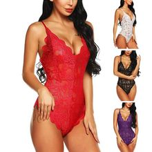 цена на Womens Sexy Sheer Crochet Full Floral Lace Lingerie Bodysuit Deep V-Neck Scalloped Trim Solid Color Rompers Cross Bandage Backle