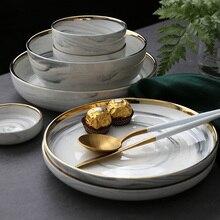 NIMITIME  European Style Golden Ceramic Bowl Soup Deep Plate Home