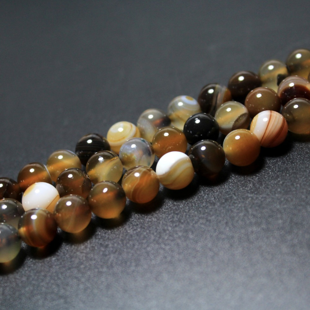 Wholesale Natural Coffee Brown Stripes Agat Stone Beads For Jewelry Making DIY Bracelet Necklace 4 6