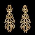 Vintage Long Gold Earrings for Women Crystal Leaf Wedding Earrings for Brides Big Party Earrings brincos de festa earings ersg91