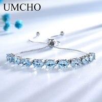 UMCHO 9ct натуральный, небесно-синий топаз аквамарин 925 пробы серебро звено цепи Браслеты для Для женщин Fine Jewelry регулируемый браслет