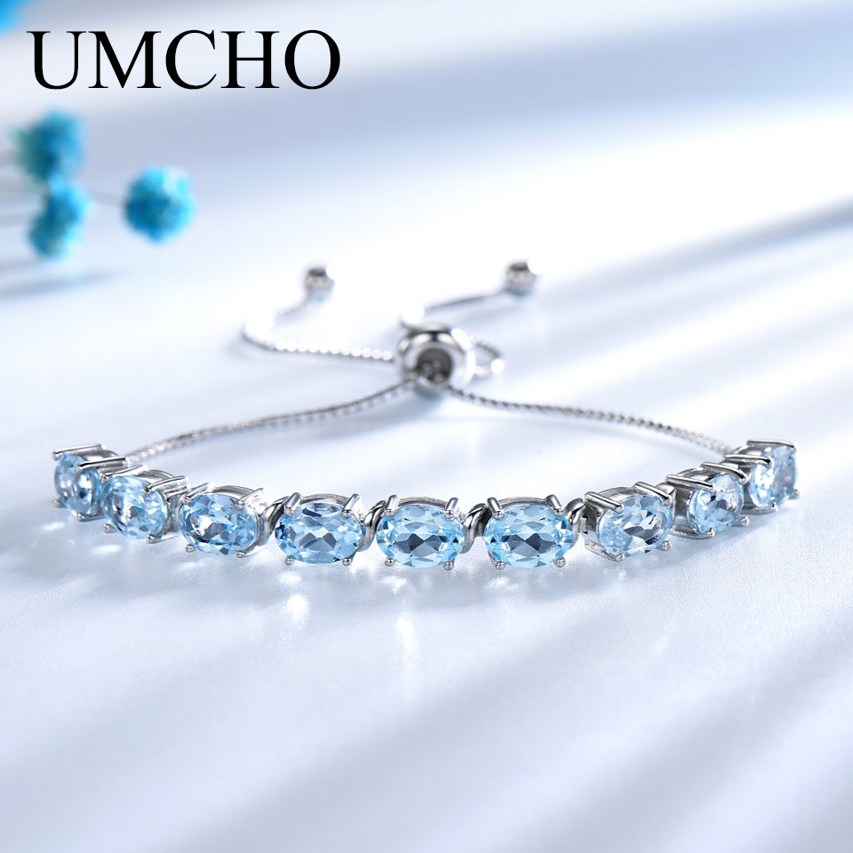 UMCHO 9ct Natural Sky Blue Topaz Aquamarine 925 Sterling Silver Chain Link Bracelets For Women Fine Jewelry Adjustable Bracelet