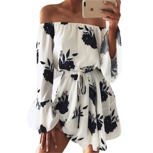 LOSSKY Women Summer 2018 Beach Floral Boho Dress Loose Printing Sexy Off the Shoulder Flare Sleeve Empire Flash Neck Mini Dress printing off the shoulder flounce dress