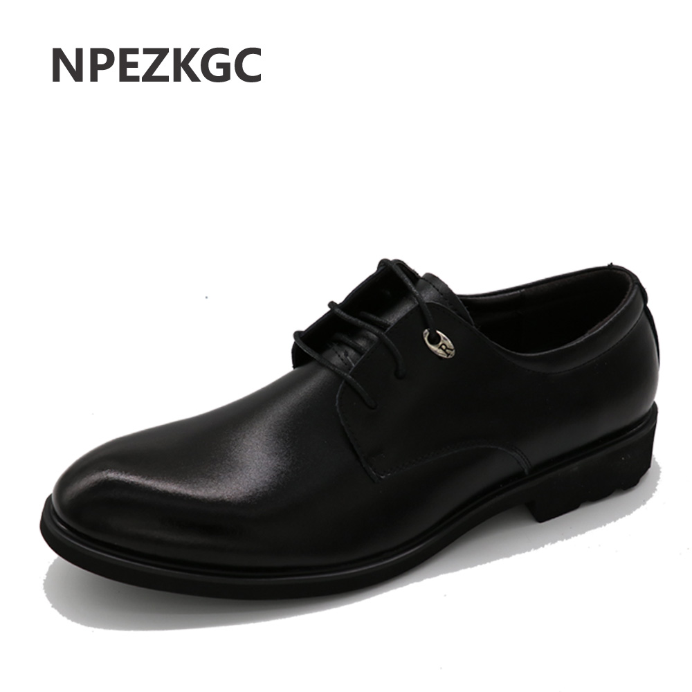 NPEZKGC 2017 High Quality Genuine Leather Men's Oxfords Round Toe Lace up Platform British Designer Dress Wedding Flats Shoes designer luxury designer shoes women round toe high brand booties lace up platform ankle boots high quality espadrilles boot