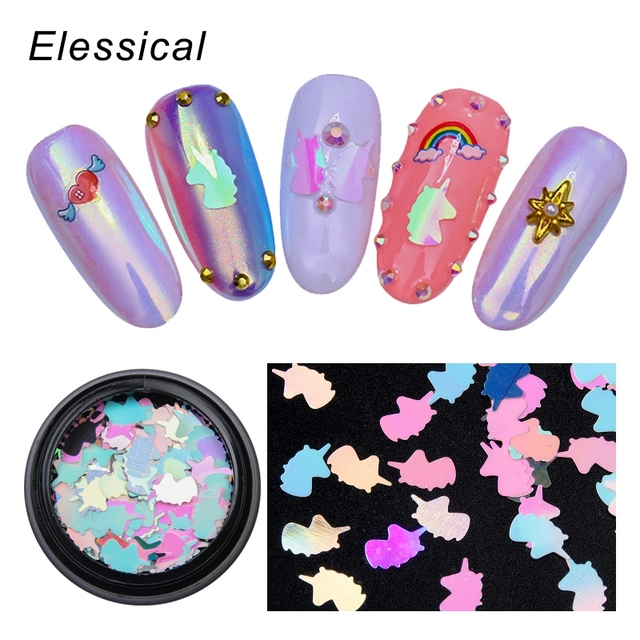 ELESSICAL 1 Bottle Holographic Colorful Unicorn Nail Glitter Sequin 3D Art Decoration Tinsel Spangles For