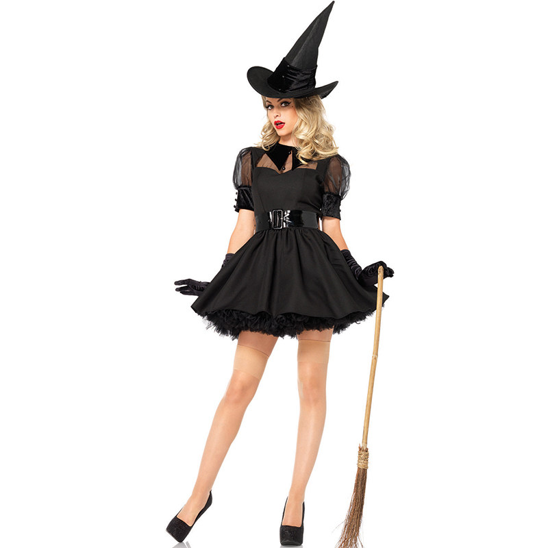 Halloween Black Witch Costume Robe Medieval Adult Women Devil Cosplay Costumes Gothic Fancy Dress with Hat W850869