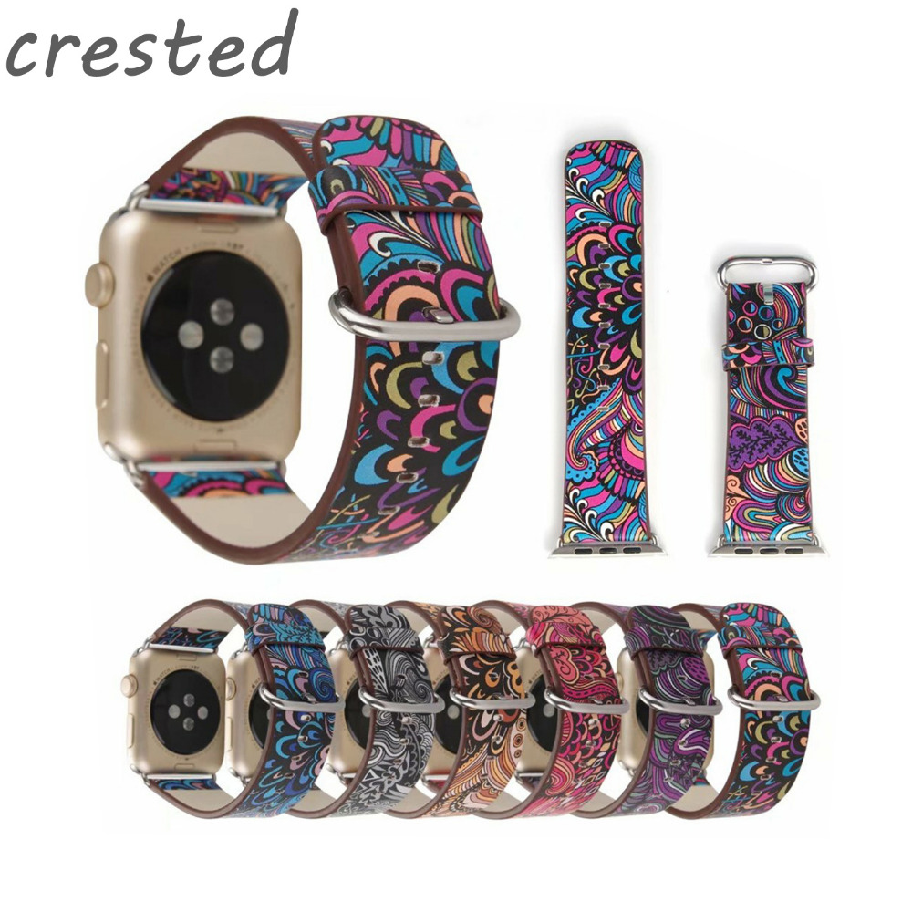 CRESTED Leather strap for apple watch band 42mm 38mm watch accessories Wrist Bracelet band for iwatch series 3/2/1 clock belt цена