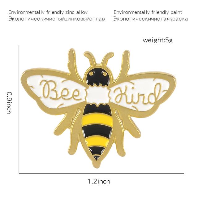QIHE JEWELRY Bee Kind Pin Honey Brooch Bee Lapel Pin Be kind Enamel pin Animal Jewelry Brooches for Men Women