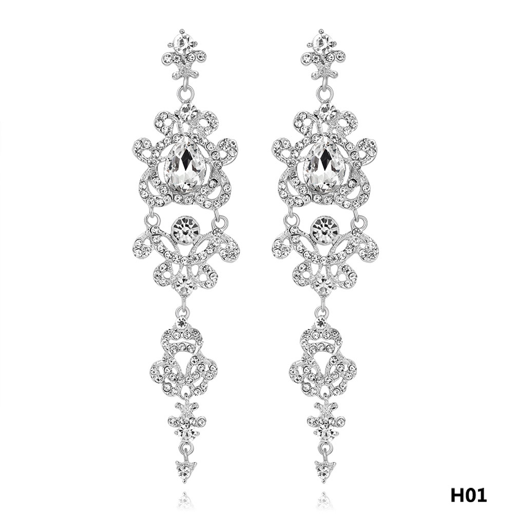Silver Color Crystal Wedding Long Earrings Floral Shape Chandelier Earrings  For Women Brides Bridesmaid Jewelry Gift