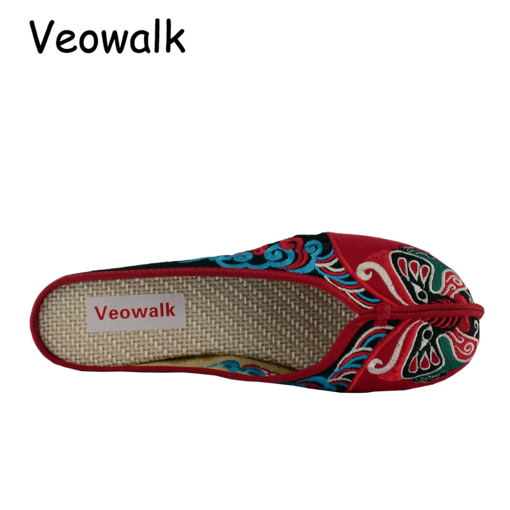 Veowalk Handmade Opera Embroidery Women Summer Shoes Fashion Women Old Beijing Home Slippers Casual Soft Shoes Mujer Plus Size 5