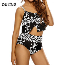 OULING High Waist Plus Size Bathing Suit Vintage Swimwear Ruffle Cover Push Up Bikini Large Biquinis Triangle Swimsuit 5XL