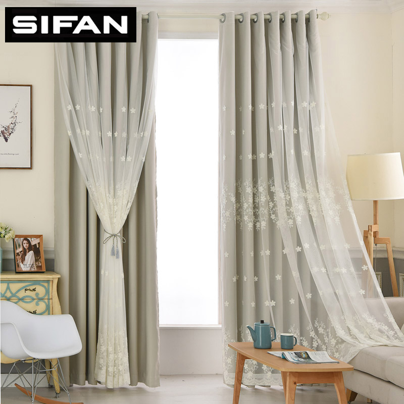 European White Fancy Embroidered Sheer Voile Curtains