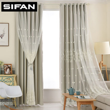 European White Fancy Embroidered Sheer Voile Curtains High Quality Blackout Curtains for Living Room Bedroom Modern