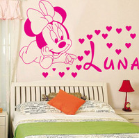 Free Shipping Home Decoration Creative DIY Cute Mickey Mouse Minnie Baby Custom Kids Name Baby For