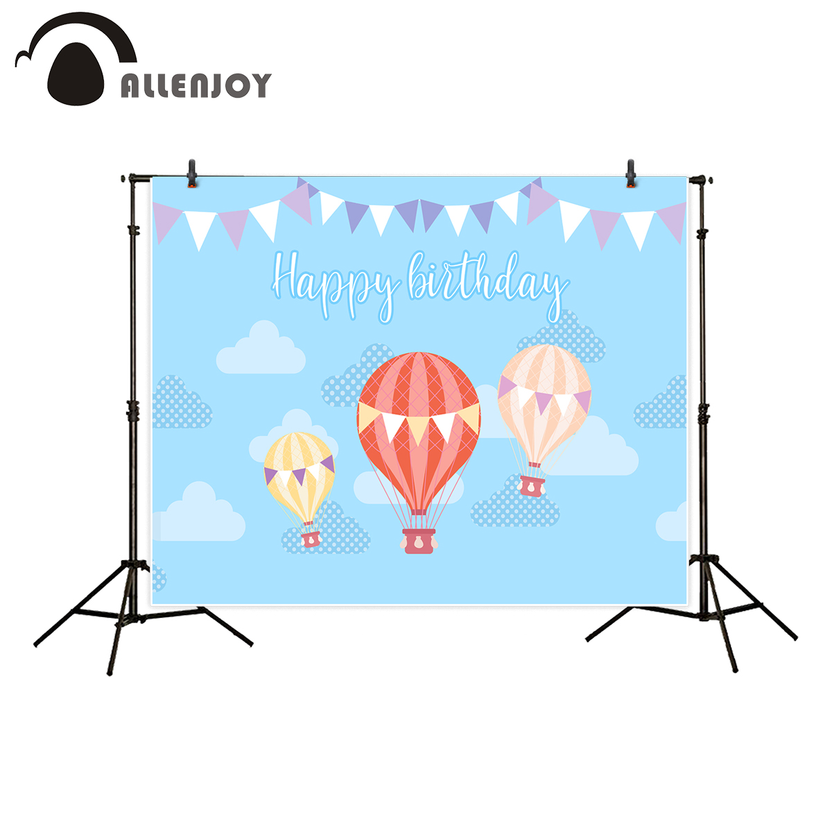 Allenjoy kids background for photography Baby blue sky cloud banner hot air balloon happy birthday backdrop new design photocall