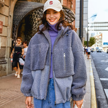 Titotato 2019 Winter Coat New Warm Lovely Blue Thick Womens Jacket Fashion Hooded Lamb Hair Outerwear For Women Loose Pocket
