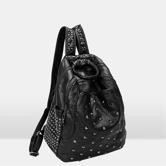 Bailar fashion famous brand rivet women backpack teenager girl high quality PU Leather High capacity school bag travel shopping