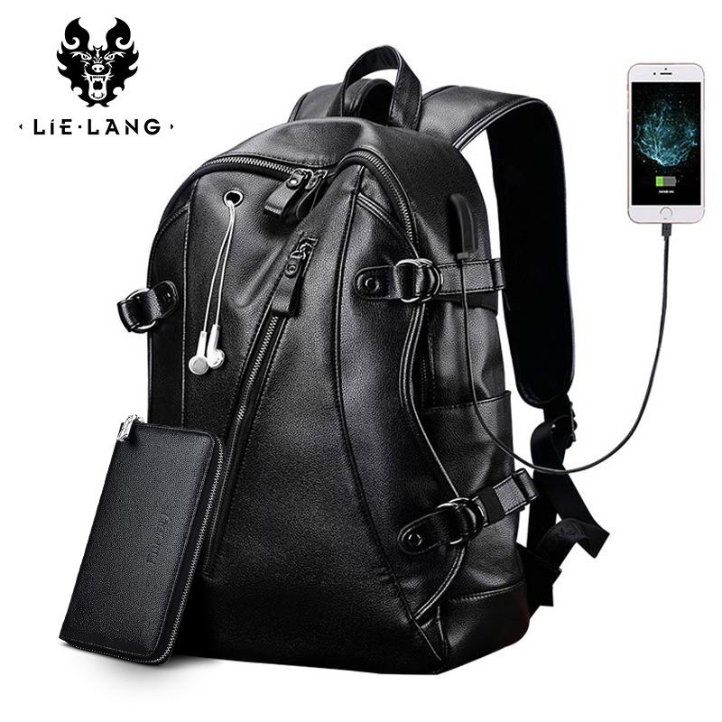 LIELANG Men Backpack External USB Charge Waterproof  Backpack Fashion PU Leather Travel Bag Casual School Bag leather bookbag(China)