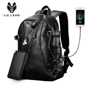 LIELANG Men Backpack External USB Charge Waterproof  Fashion PU Leather Travel Bag Casual School leather bookbag