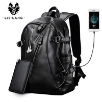 LIELANG Men Backpack External USB Charge Waterproof Backpack Fashion PU Leather Travel Bag Casual School Bag leather bookbag