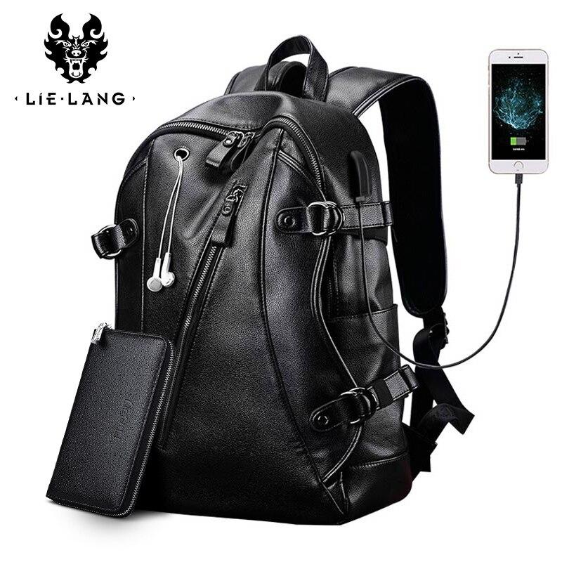 LIELANG hommes sac à dos externe USB Charge sac à dos étanche mode PU sac de voyage en cuir sac d'école décontracté sac en cuir