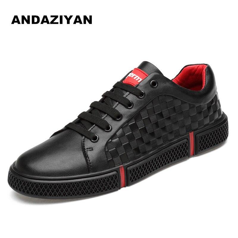 Nuevos La Marea Coreana Hombres Versión De Tendencia Los Negro Cuero blanco Zapatos Casual Blancos Primavera 2019 Y74xxwg